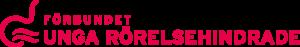 Förbundet Unga Rörelsehindrades logga, namnet i rött samt en vågformad symbol som kan tolkas som en person i en rullstol.
