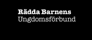 Rädda Barnens Ungdomsförbunds logga, namnet i vitt mot svart kantig pratbubbla som bakgrund.