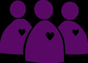 Ikon/symbol för Aktivistnätverket. Mörkt lila teckning. Tre figurer i en klunga, på varje figur ett vitt hjärta.