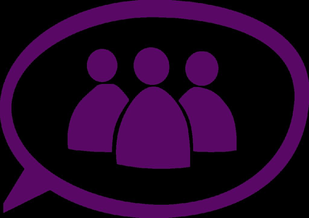 Icon/symbol för Allierads Medarbetare. Mörkt lila teckning, tre personer i en pratbubbla.