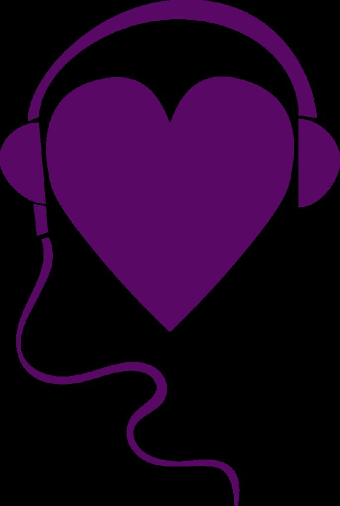 Icon/symbol för vår Podd Allierad. Mörkt lila teckning, där ett hjärta samtidigt är ett huvud som har hörlurar på sig.