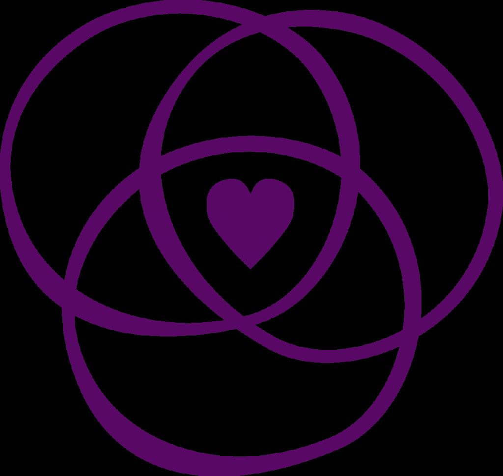 Allierads logga för referensgruppen/våra samarbetspartners. Den är mörklila och består av ett Venndiagram med ett hjärta i mitten. Venndiagram är illustrationer som används i mängdlära för att visa på det matematiska eller logiska sambandet mellan klasser eller mängder. Två eller tre överlappande cirklar.