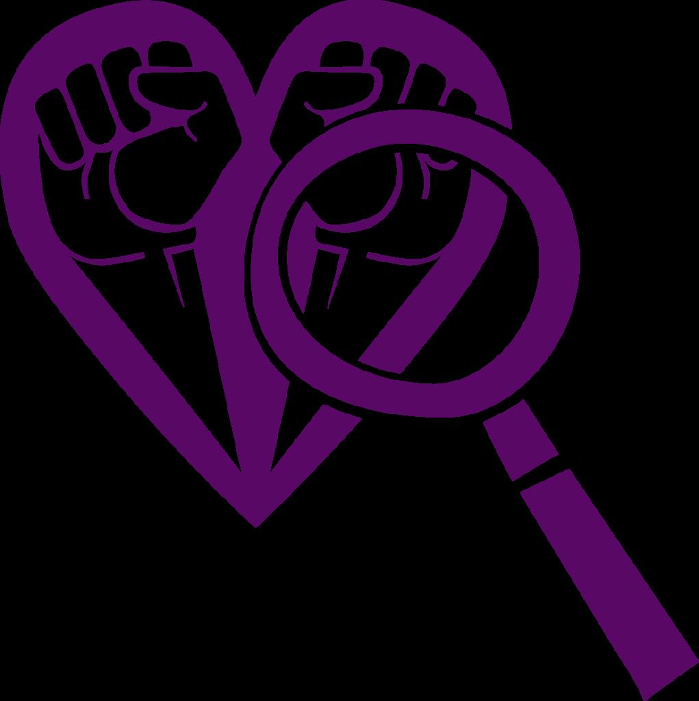 """Ikon/symbol för Om projektet Allierad, mörklila teckning, ett förstoringsglas """"tittar på"""" två knutna nävar som bildar ett hjärta."""