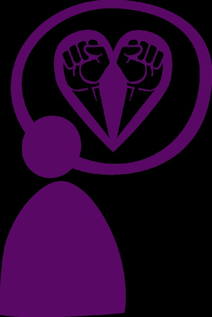 Ikon/symbol för att vara allierad, lila figur, tankebubbla med knutna nävar som bildar ett hjärta.