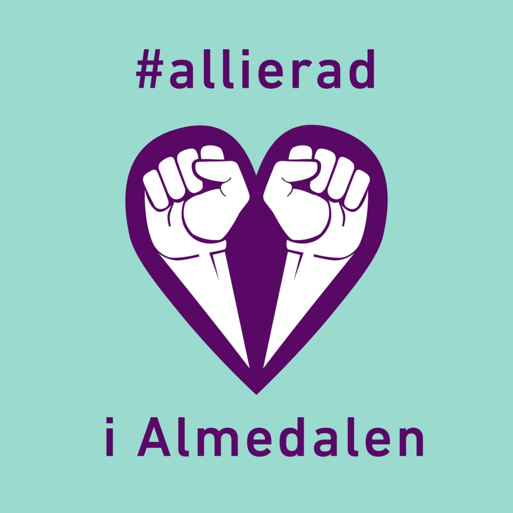 #allierad i Almedalen Ljusturkos bakgrund, Allierads logga med två knutna nävar som bildar ett hjärta i mörkt lila, samt texten #allierad i Almedalen