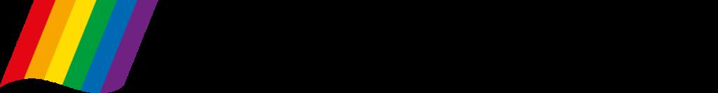 RFSL Ungdoms logga. Pridefärgerna lodrätt följt av RFSL Ungdom skrivet med svarta, lutande bokstäver.