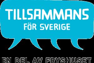 """Tillsammans för Sveriges logga. Namnet skrivet i vitt mot ljusblå bakgrund, som en pratbubbla med flera trattar. Svart text """"En del av Fryshuset""""."""