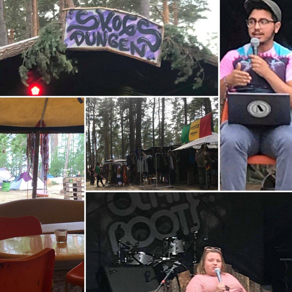 """Bildkollage med foton från Öland Roots, skogsdunge, möblerat tält, handmålad skylt """"Skogsdungen"""", Yousef och Maria som talar i mikrofon."""