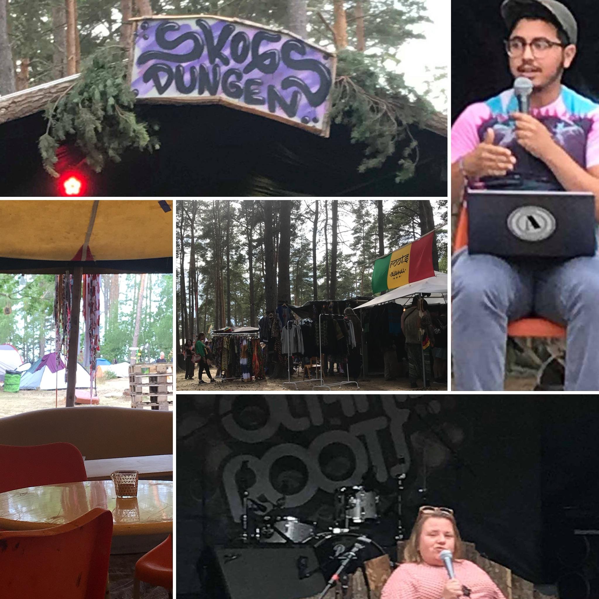 """Bildkollage med foton från Öland Roots, skogsdunge, möblerat tält, handmålad skylt """"Skogsdungen, Yousef och Maria som talar i mikrofon."""