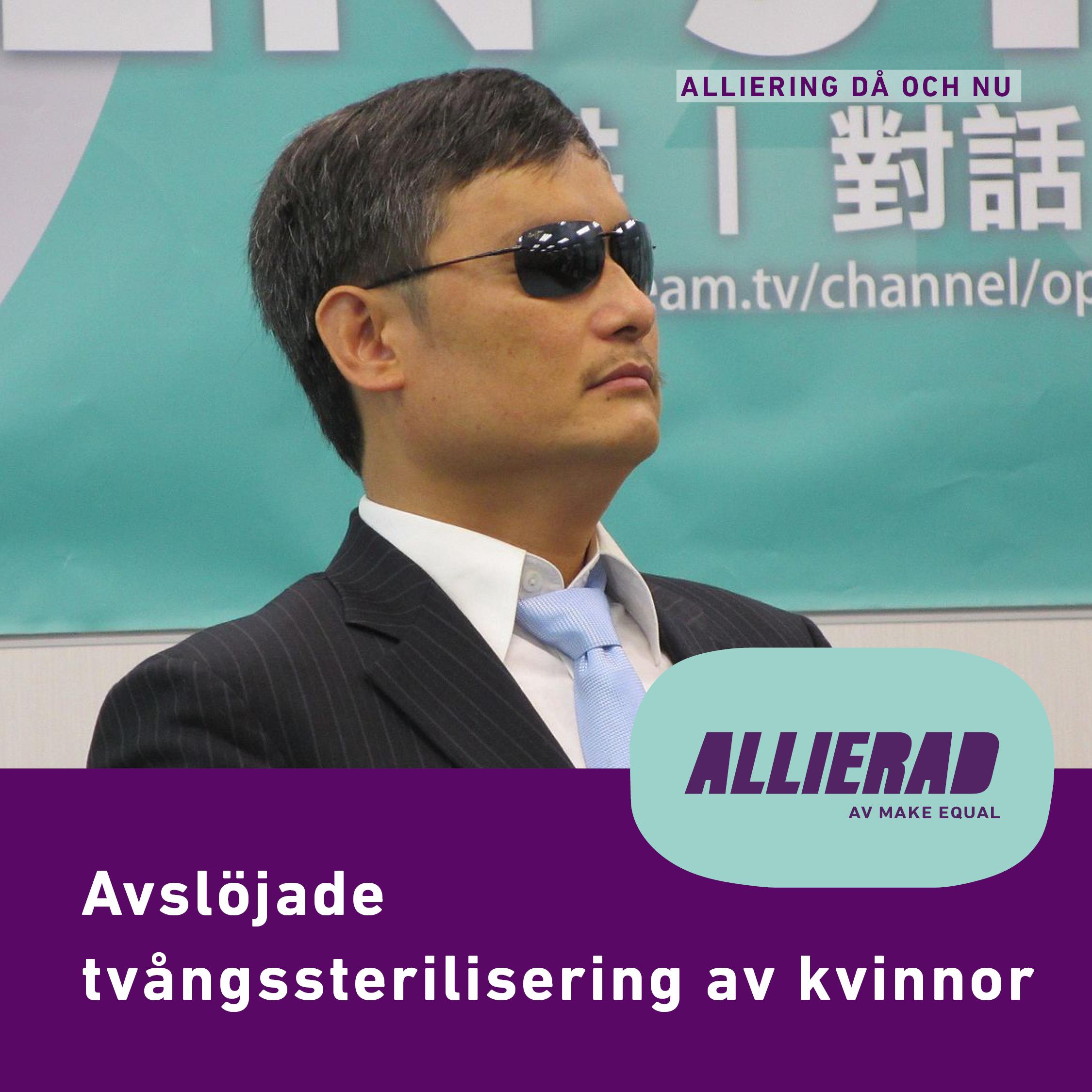 """ntolkning: En bild på Chen Guangcheng i kostym, slips och mörka solglasögon. Han sitter i någon form av tv-studio. Text """"Allierad då och nu"""", """"Avslöjade tvångssterilisering av kvinnor"""" samt Allierads logga."""