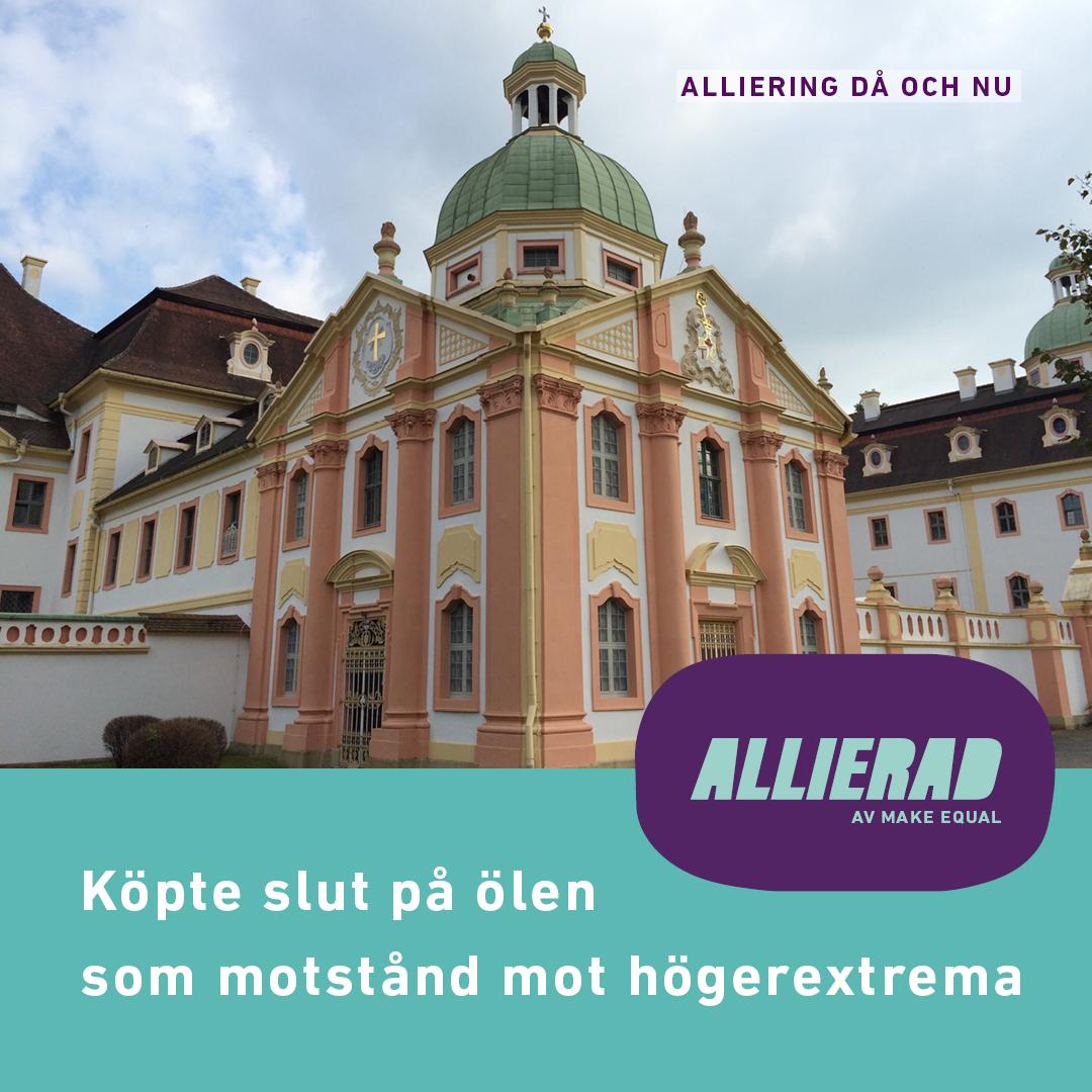 Bild på ett mindre klocktorn i klostret Sankt Marienthal. Byggnaden är vit och ljusrosa medan klocktornet är grönt. Text Allierad och Köpte slut på ölen som motstånd mot högerextrema.