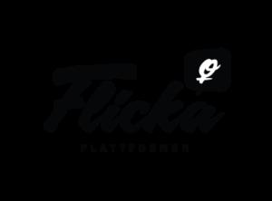 Flickaplattformens logga Den består av svart text mot vitt. Flicka är skrivet med skrivstil, under flicka i versaler och mindre står plattformen, dessutom en illustration med kvinnosymolen i vitt mot svart.