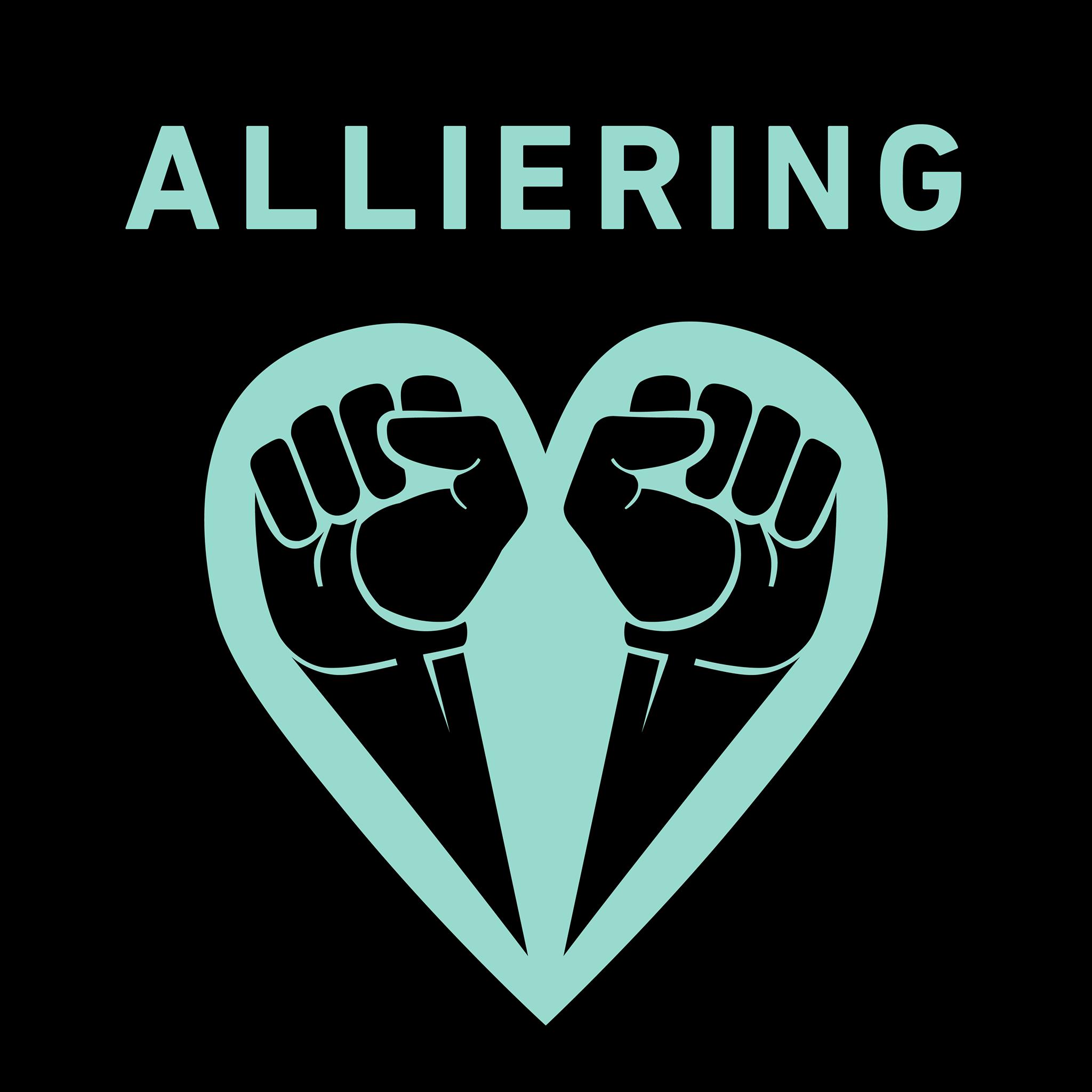 """Formgiven bild med texten """"Alliering"""" samt projekt #Allierads logotyp i form av två knutna nävar formade till ett hjärta."""