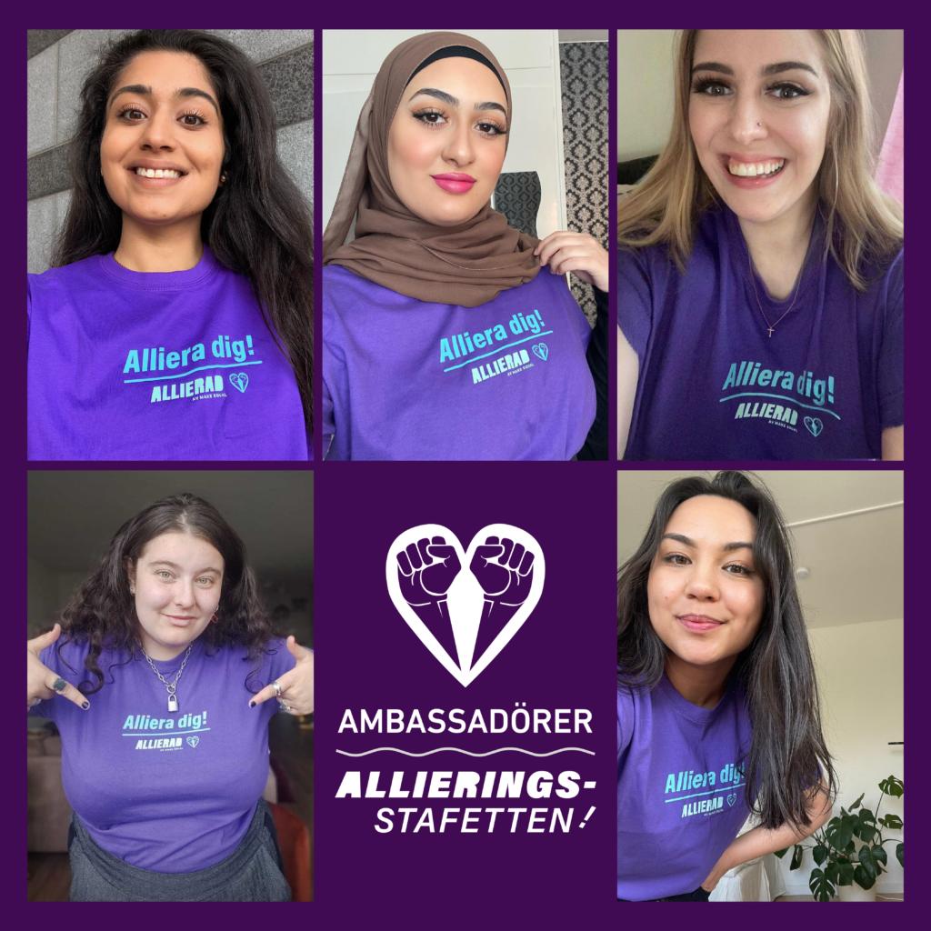 """Text """"Ambassadörer Allieringsstafetten"""" samt kollage med selfies på de fem personerna i lila T-shirts med texten """"Alliera dig!""""."""