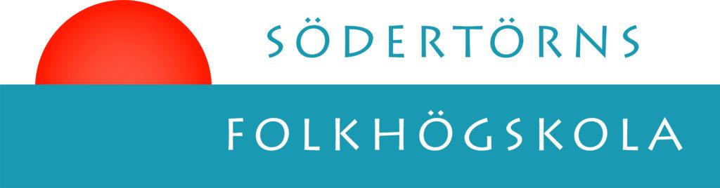 Logotype Södertörns Folkhögskola i  blågrönt och vitt, med en orange halvcirkel.